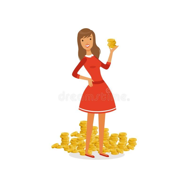Mooi jong succesvol rijke vrouwkarakter in rode kleding die zich naast een grote stapel van de gouden besparingen van het muntstu vector illustratie