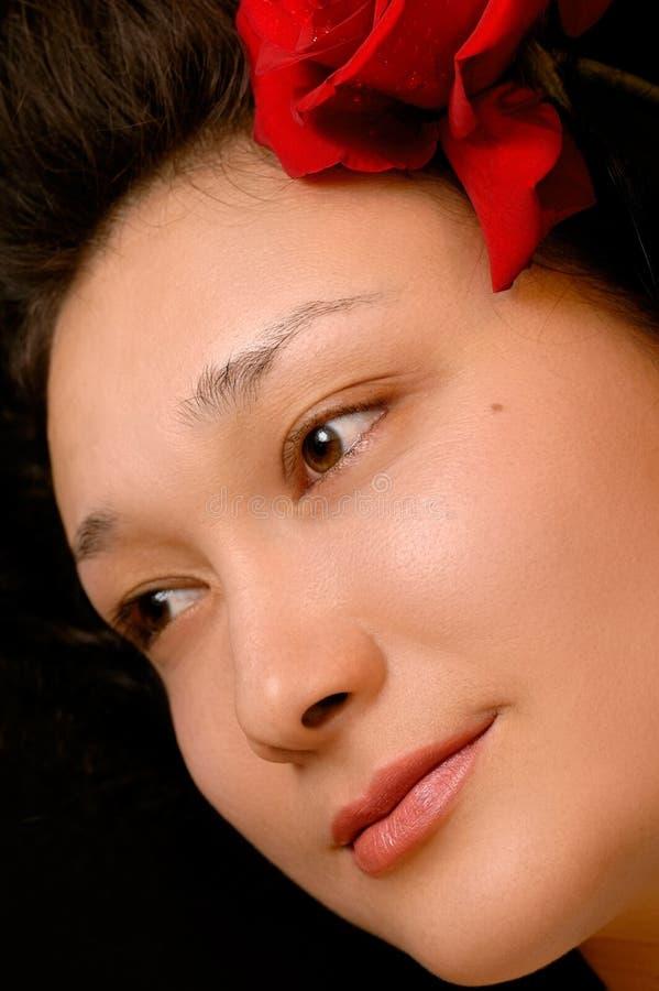 Mooi jong vrouwengezicht stock foto