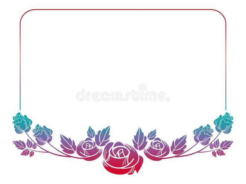 Mooi kader met rozensilhouetten royalty-vrije illustratie