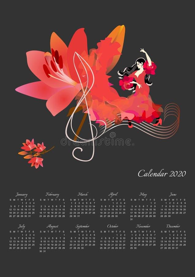 Mooi kalenderontwerp voor het jaar van 2020 met dansend meisje, grote leliebloem en g-sleutel op zwarte achtergrond stock illustratie