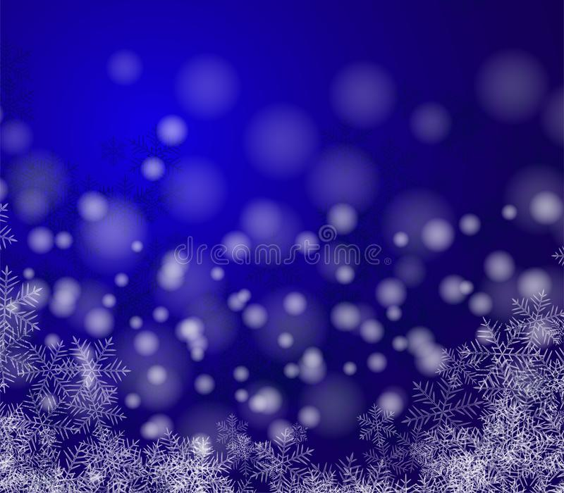 Mooi Kerstmisbeeld Witte sneeuwvlokken op een blauwe achtergrond Samenvatting stock afbeeldingen