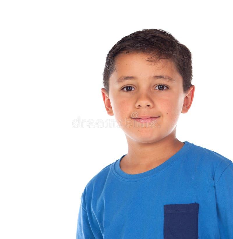 Mooi kind met blauwe t-shirt en zwart haar royalty-vrije stock fotografie
