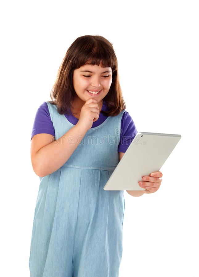 Mooi kind met een tablet royalty-vrije stock foto's