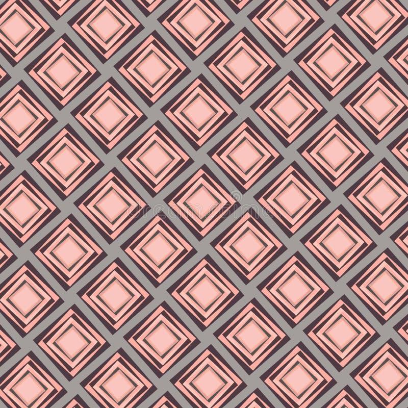 Mooi kleurrijk diamanten naadloos patroon in perzik en roze kleuren royalty-vrije illustratie