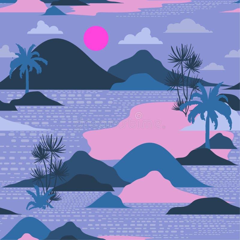 Mooi kleurrijk silhouet van eiland, palm, strand, mounta vector illustratie