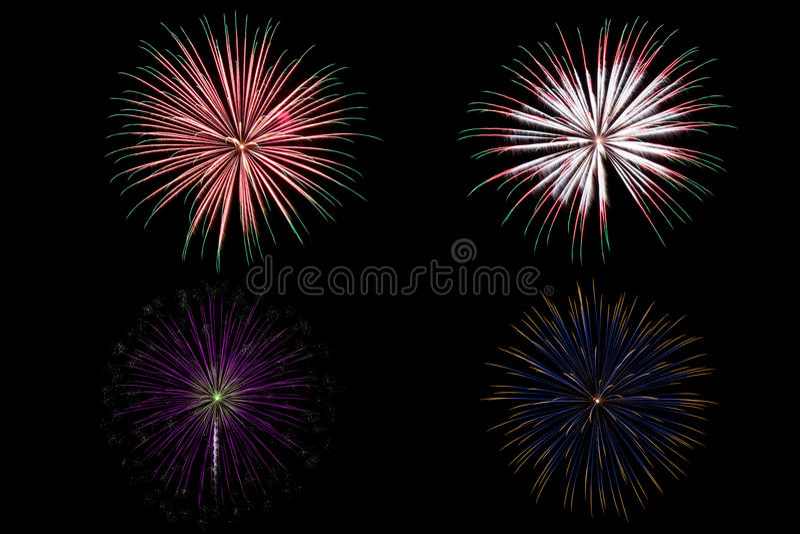 Mooi Kleurrijk vuurwerk over donkere hemel stock afbeelding