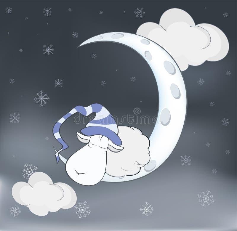 Mooi lam en een maanbeeldverhaal stock illustratie