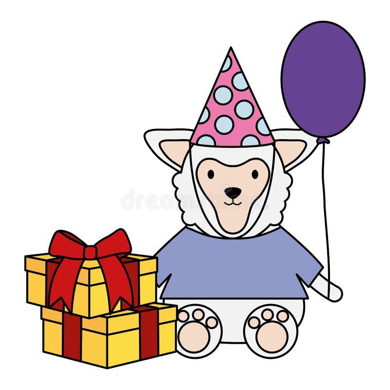 Mooi lam met giftdoos en ballonhelium in verjaardagspartij stock illustratie