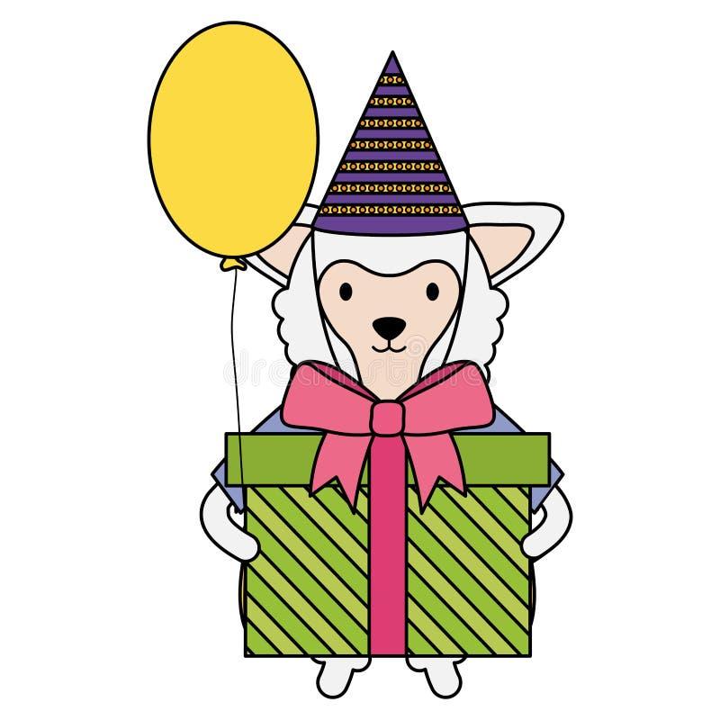 Mooi lam met giftdoos en ballonhelium in verjaardagspartij royalty-vrije illustratie