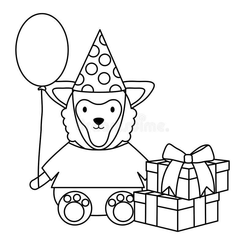 Mooi lam met giftdoos en ballonhelium in verjaardagspartij vector illustratie