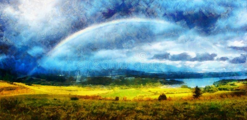 Mooi landschap, groen en geel weide en meer met berg op achtergrond met een regenboog in de hemel en de computer stock illustratie