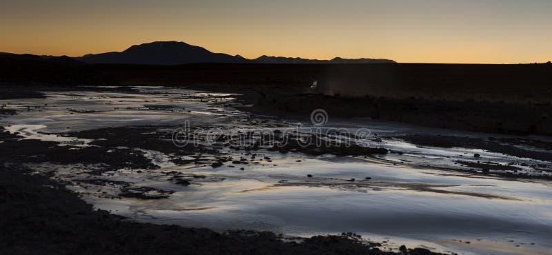 Mooi landschap langs de weg naar Quetena Chico - Bolivië stock afbeeldingen