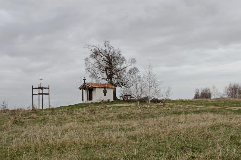 Mooi landschap met boom van de de lente de eerbiedwaardige berk en oude die kapel, in Plana-berg wordt gevestigd royalty-vrije stock foto