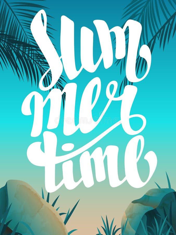 Mooi landschap met de tijd van de tekstzomer De zomertijd het van letters voorzien Heldere, kleurrijke achtergrond De vakantie va stock foto