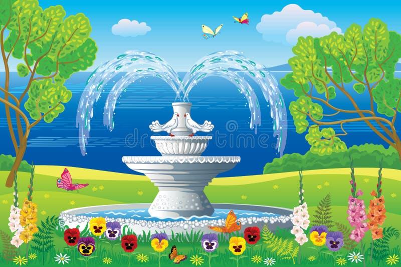 Mooi landschap met de witte fontein vector illustratie