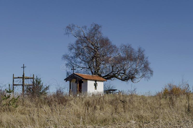 Mooi landschap met herfst eerbiedwaardige berkboom en oude kapel royalty-vrije stock afbeeldingen
