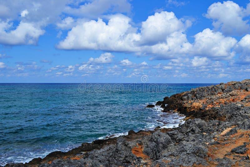 Mooi landschap met overzees en rots stock afbeelding
