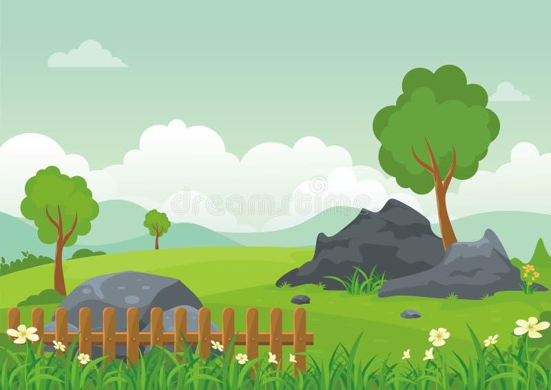 Mooi landschap met rotsachtige heuvel, het Mooie en leuke ontwerp van het landschapsbeeldverhaal royalty-vrije illustratie
