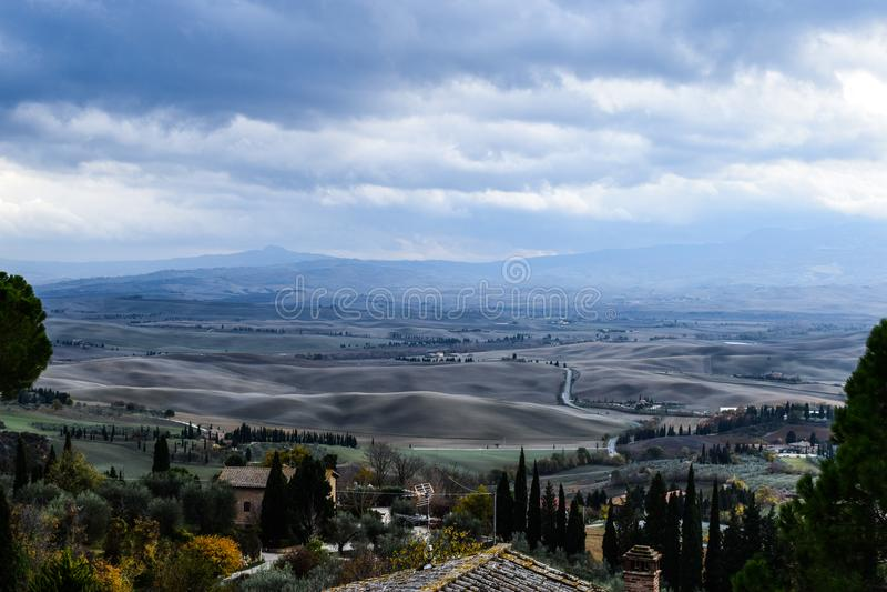 Mooi landschap op Toscanië, Italië royalty-vrije stock fotografie