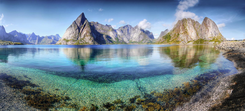 Mooi Landschap, Panorama, Lofoten stock foto's