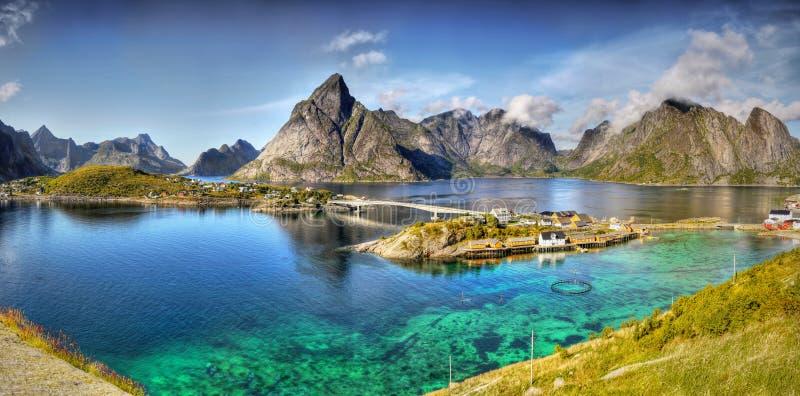 Mooi Landschap, Reine, Panorama, Lofoten royalty-vrije stock afbeeldingen