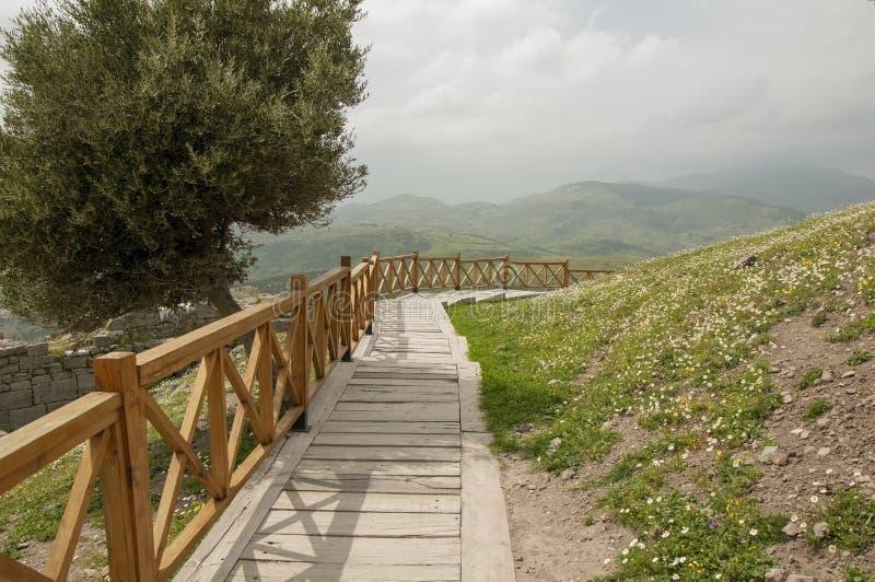 Mooi landschap rond berg in Bergama (Pergamon), Turkije royalty-vrije stock afbeeldingen