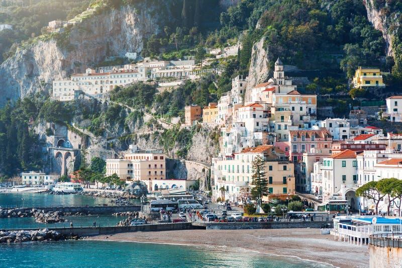 Mooi landschap van Amalfi stad op Middellandse Zee, Italië royalty-vrije stock foto