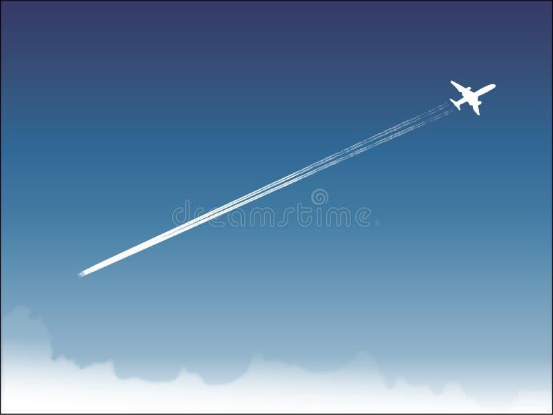 Mooi landschap van blauwe hemel en vliegende Boeing royalty-vrije illustratie