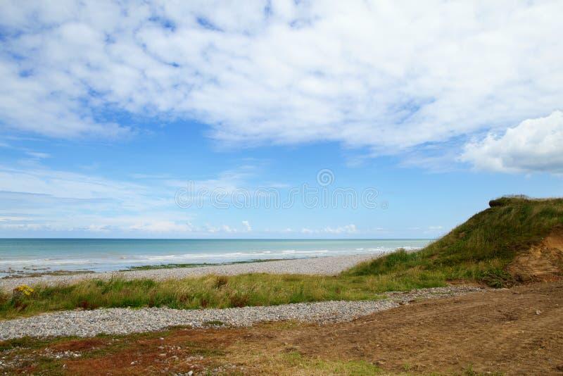 Mooi landschap van een strand in Normandië stock afbeelding