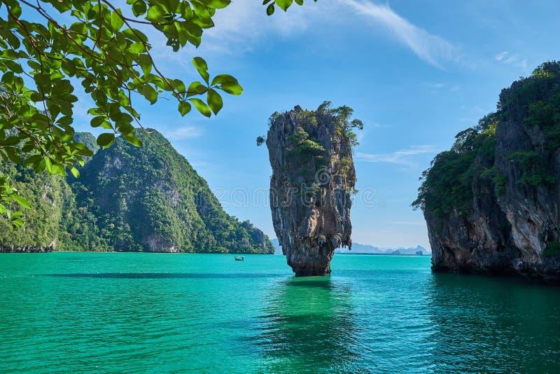 Mooi landschap van James Bond Island-Koh Tapu, de Baai van Phang Nga, Thailand royalty-vrije stock fotografie