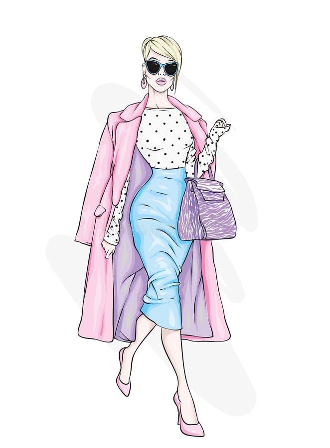 Mooi, lang en slank meisje in een modieuze laag, broeken, glazen, met glazen Modieuze vrouw in high-heeled schoenen royalty-vrije illustratie