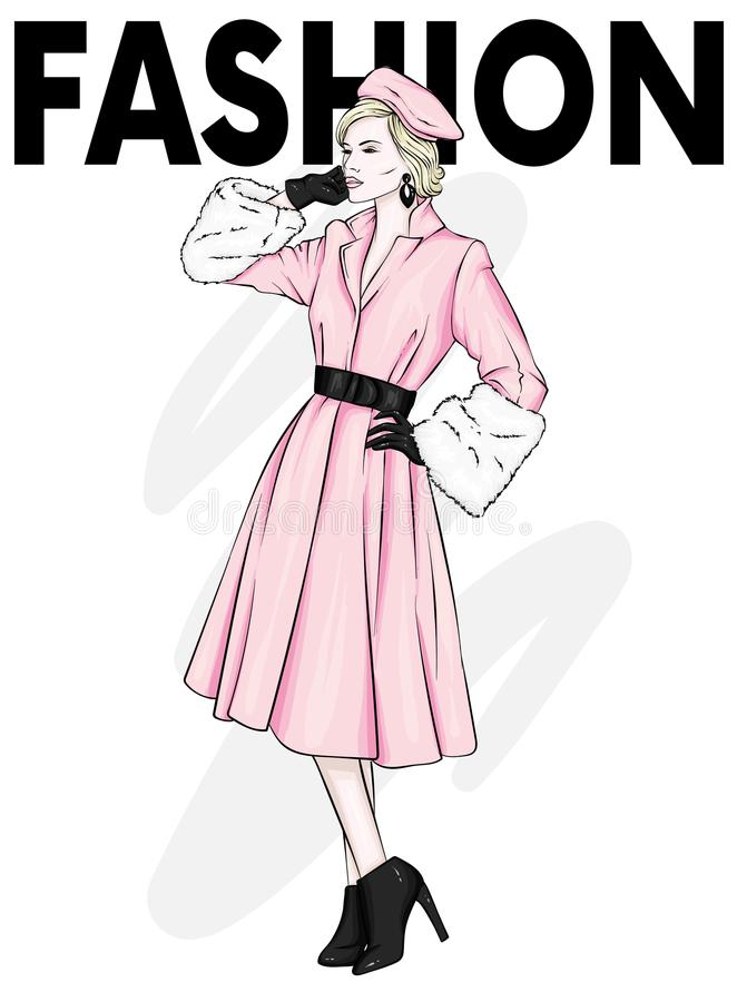 Mooi, lang en slank meisje in een modieuze laag, broeken, en glazen Modieuze vrouw in high-heeled schoenen Manier & Stijl royalty-vrije illustratie