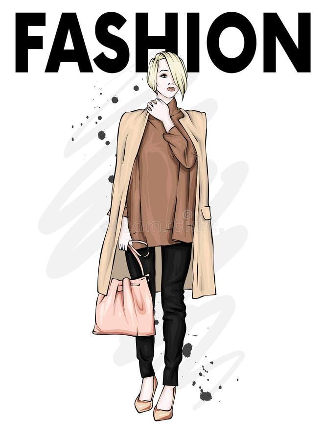 Mooi, lang en slank meisje in een modieuze laag, broeken, en glazen Modieuze vrouw in high-heeled schoenen Manier & Stijl stock illustratie