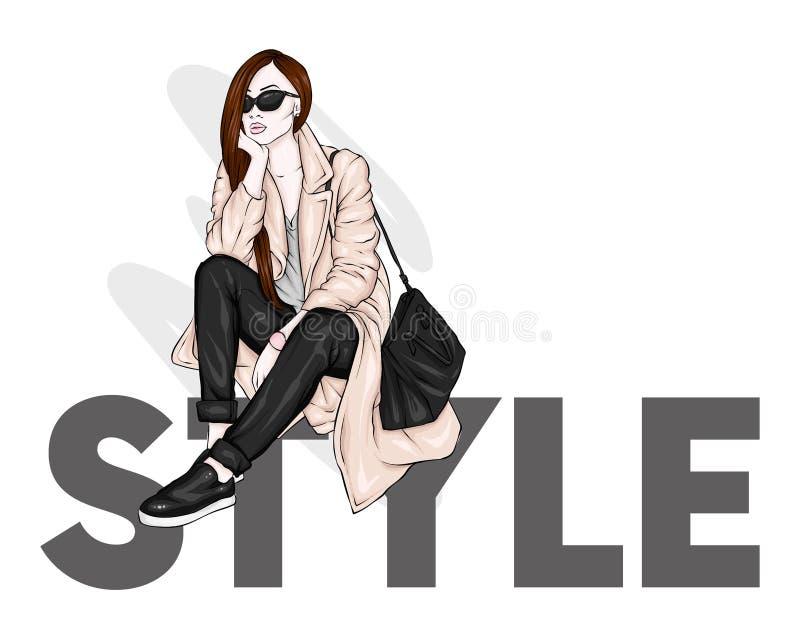 Mooi, lang en slank meisje in een modieuze laag, broeken, en glazen Modieuze vrouw in high-heeled schoenen Manier & Stijl vector illustratie
