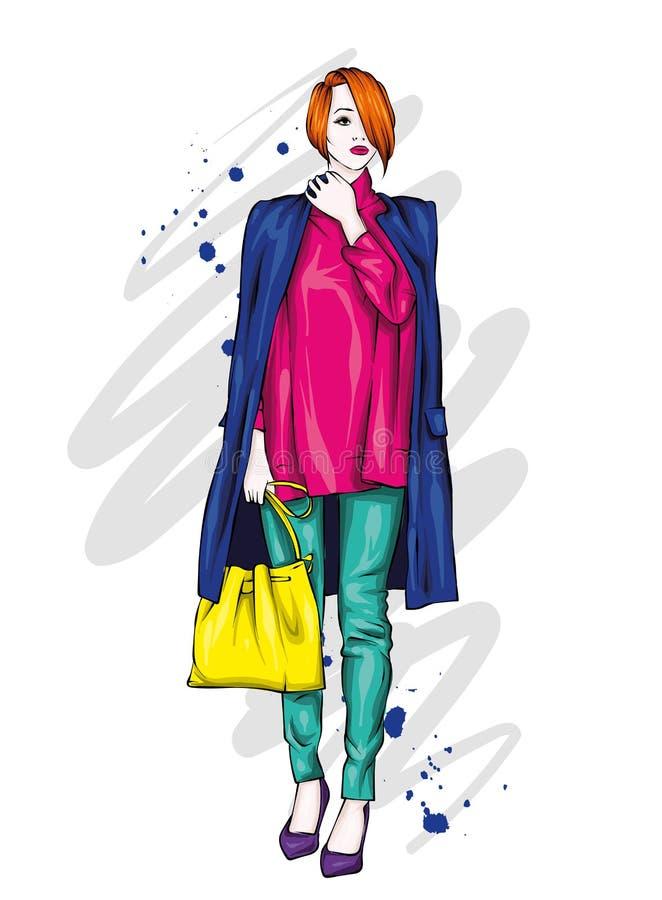 Mooi, lang en slank meisje in een modieuze laag, broeken, en glazen Modieuze vrouw in high-heeled schoenen Manier & Stijl Ve vector illustratie