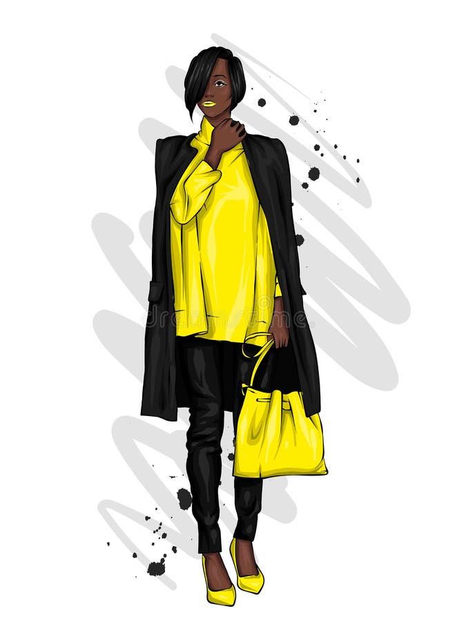 Mooi, lang en slank meisje in een modieuze laag, broeken, en glazen Modieuze vrouw in high-heeled schoenen Manier & Stijl Ve stock illustratie