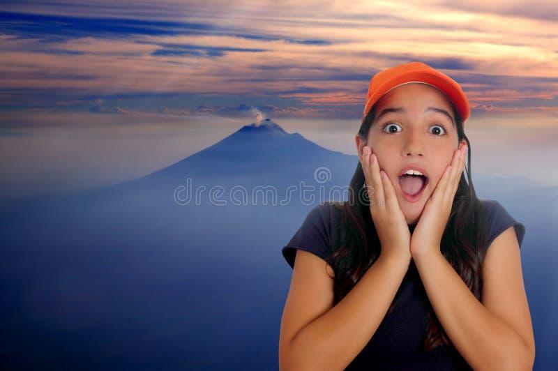 Mooi Latijns de verrassingsgebaar van het tienermeisje royalty-vrije stock foto's