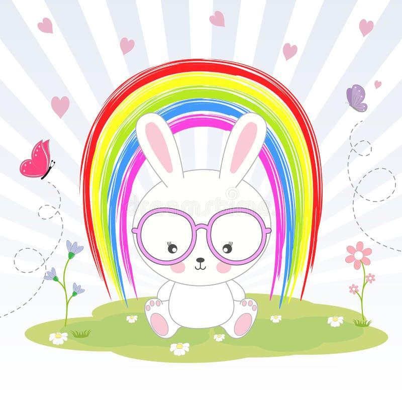 Mooi leuk konijn in glazen die op de achtergrond van de regenboog zitten royalty-vrije illustratie