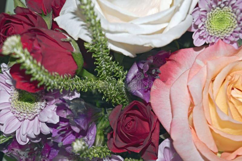 Mooi levend boeket van gemengde bloemen stock foto