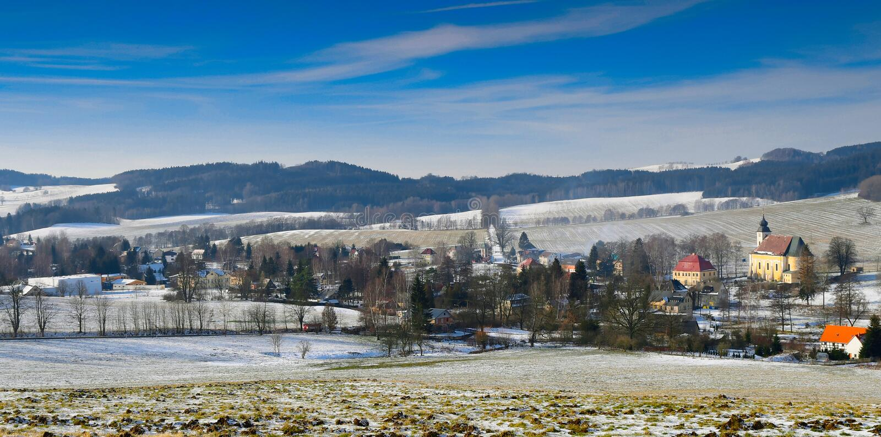 Mooi Lobendava-dorp, Tsjechische republiek royalty-vrije stock foto