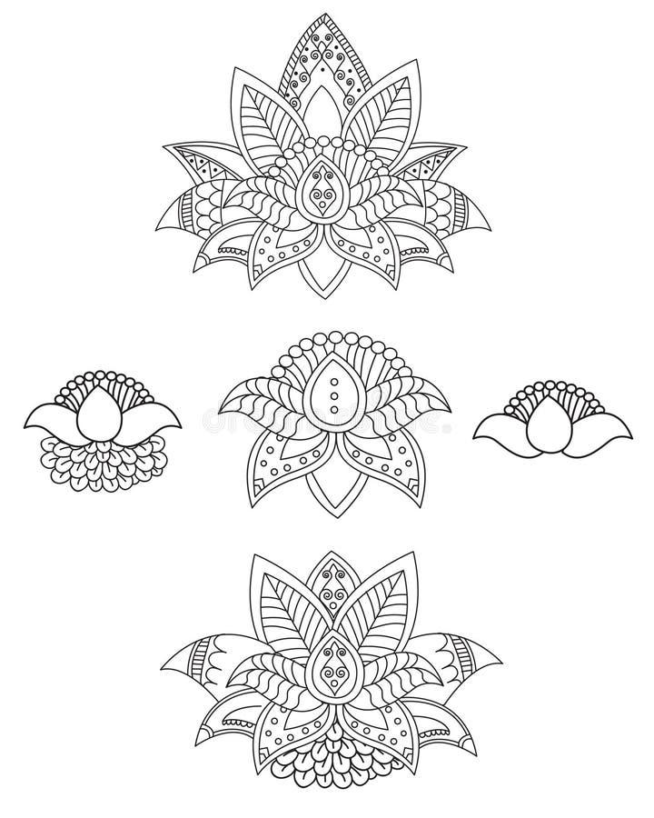 Mooi Lotus: Ornament Vectoryoga Hand getrokken element Beeld voor Ontwerp, Caleidoscoop, Medaillon, Yoga royalty-vrije illustratie