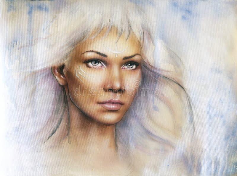 Mooi luchtpenseelportret van een jonge betoverende vrouwenstrijder royalty-vrije illustratie