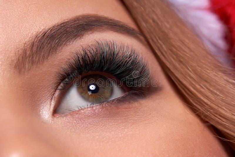 Mooi macroschot van vrouwelijk oog met extreme lange wimpers en zwarte voeringsmake-up Perfecte vormsamenstelling en lange zwepen stock fotografie
