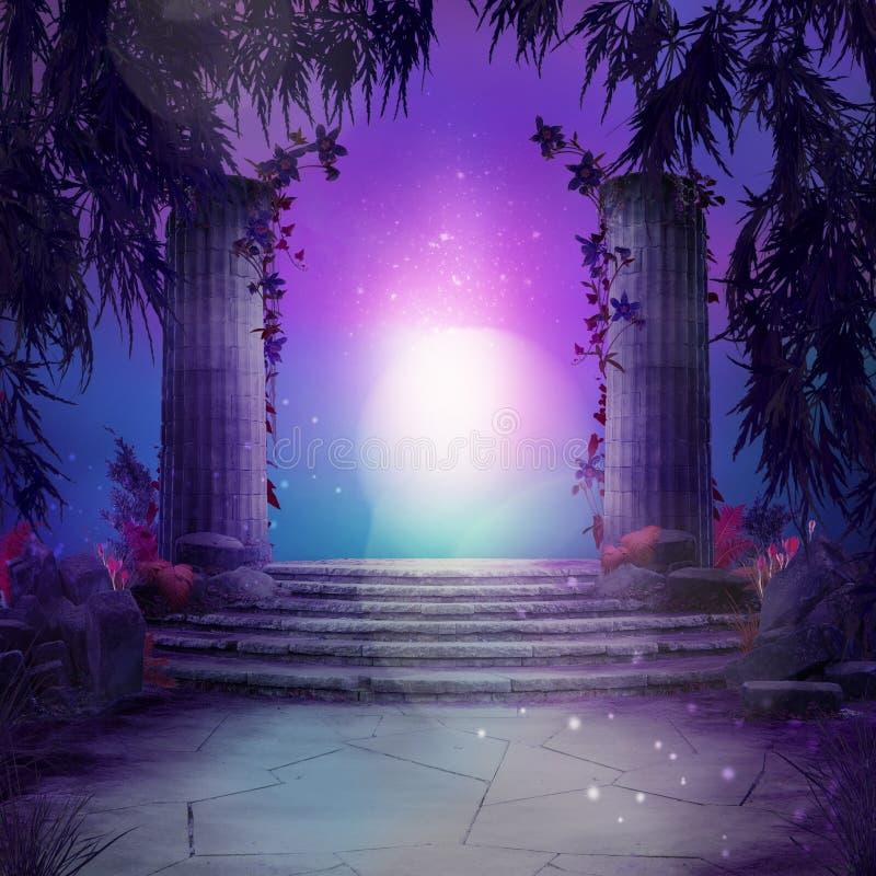 Mooi magisch tuinlandschap, fairytale stemming, stock afbeeldingen
