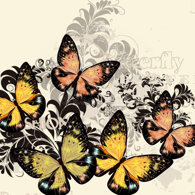 Mooi manier vectorpatroon met vlinders vector illustratie