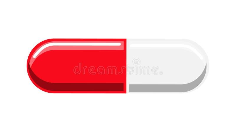Mooi medisch rood en wit twee kleurt tabletcapsule met drugs voor de behandeling van ziekten van het geneesmiddel royalty-vrije illustratie