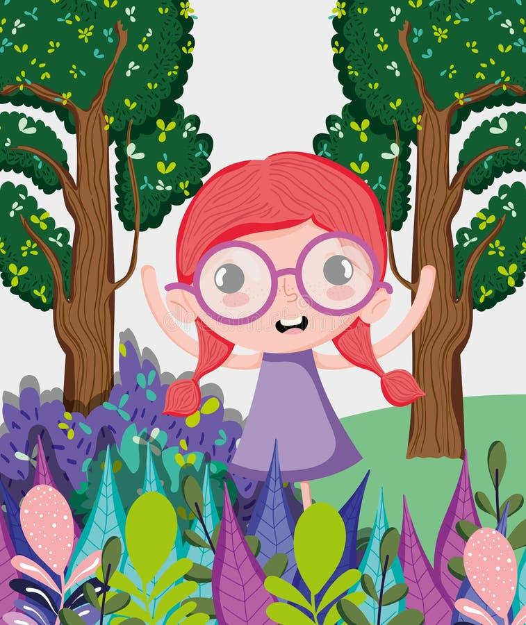 Mooi meisje bij bos stock illustratie