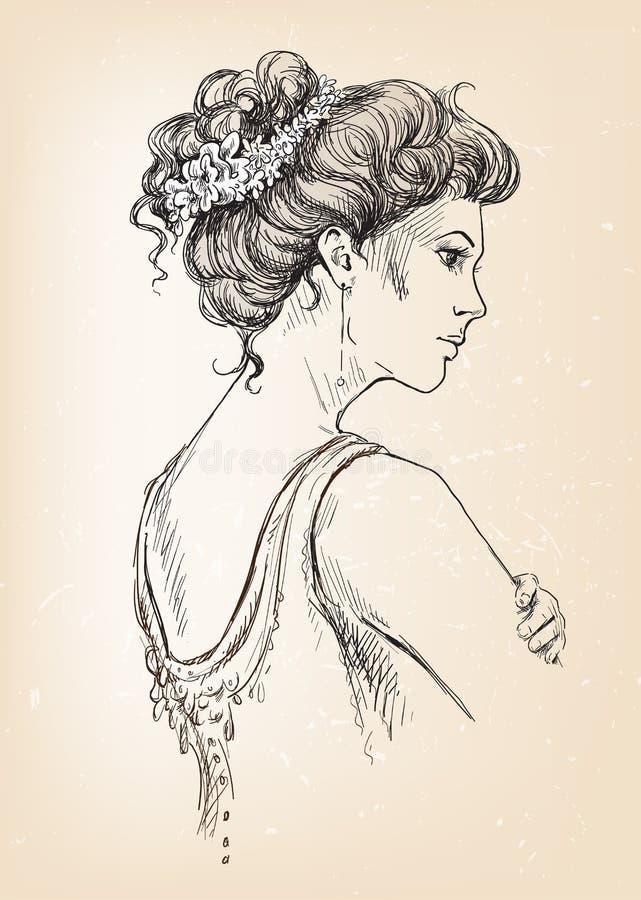 Mooi meisje. Bruid. Bruids haar. stock illustratie
