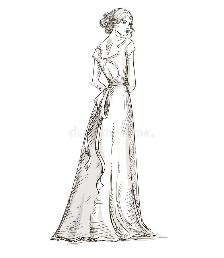 Mooi meisje. Bruid. Bruids kleding. getrokken hand. v royalty-vrije illustratie