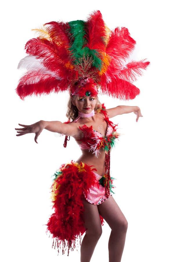 Mooi meisje in Carnaval kostuum geïsoleerdj dansen stock afbeelding